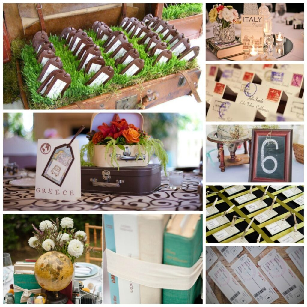 Travel themed wedding for International party decor