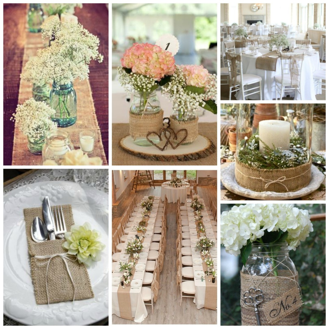 vintage wedding decoration burlap wedding decor 8313